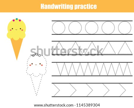 Handwriting practice sheet. Educational children game, printable worksheet for kids. Tracing lines and shapes