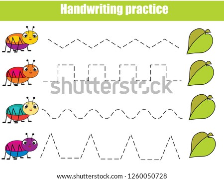 Handwriting practice sheet. Educational children game, printable worksheet for kids with funny bugs