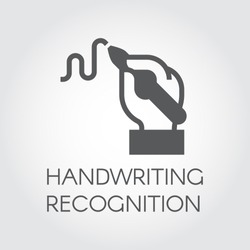 Handwriting recognition flat icon. Hand holding pen and writing line, Conclusion contract or modern authentication and authorization technology concept. Simple black label. Vector contour graphics