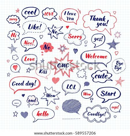 handwriting set of speech