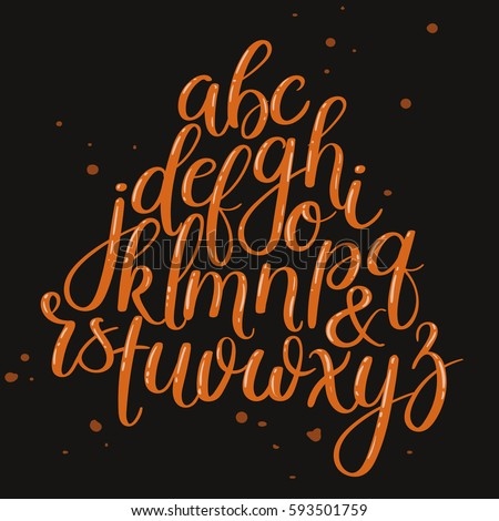Shutterstock Handwritten Brush Style Letters. Modern Calligraphy. Hand Lettering Vector Alphabet. Hand Drawn Font.