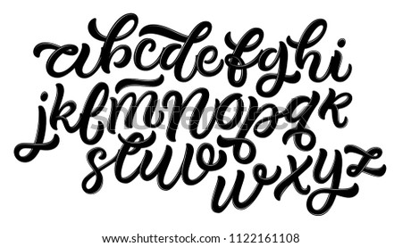 Handwritten brush style modern calligraphy cursive font isolated on white background. Handmade script alphabet for your designs: logo, posters, cards, etc.