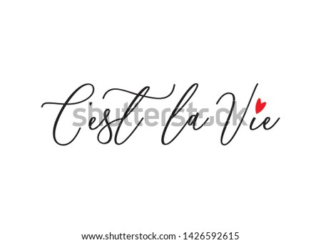 Handwritten C'est La Vie (It's Life in French) Text for Fashion, Card and Poster Prints Foto stock ©