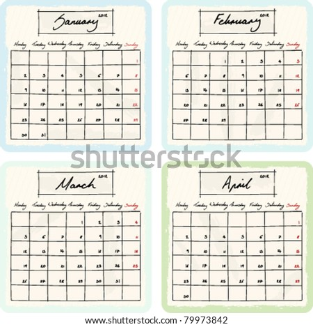 Handwritten 2012 Calendar with grunge Elements. Months January, February, March and April. Vector Version.