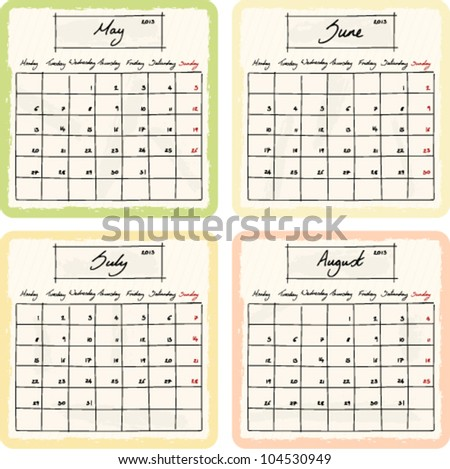 Handwritten 2013 Calendar with grunge Elements. Months May, June, July and August. Vector Version.