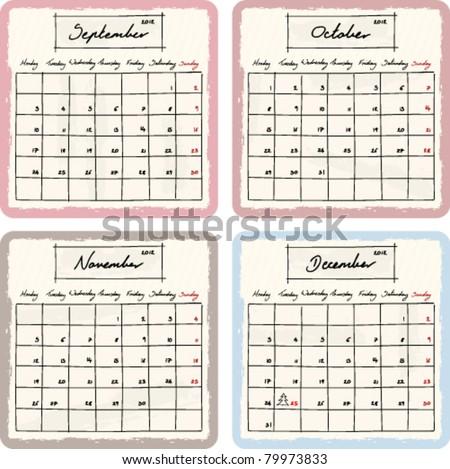 Handwritten 2012 Calendar with grunge Elements. Months September, October, November and December. vector Version.