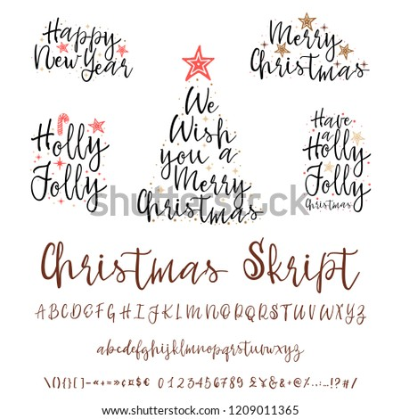 Handwritten calligraphy elegant font. and Congratulations Happy New Year and Merry Christmas, calligraphy for cards, posters and covers #1209011365