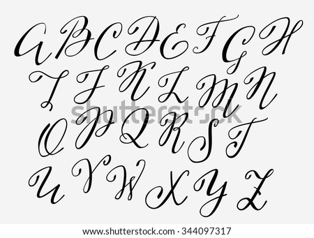 Number Names Worksheets the alphabet letters in cursive : Handwritten Calligraphy Flourish Font. Capital Letters. Modern ...