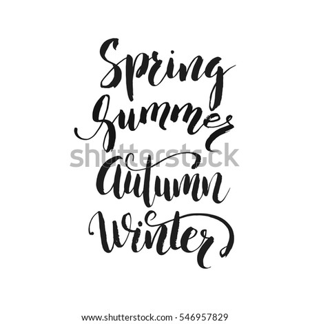 Handwritten calligraphy with phrase Winter, Spring, Summer, Autumn.