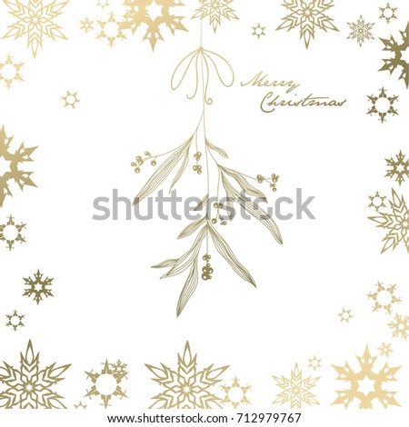 Handwritten Christmas illustration with hanging mistletoe - golden version