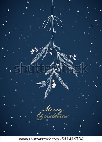 Handwritten Christmas illustration with hanging mistletoe. Night scene