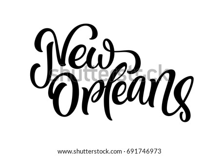 Handwritten city name. Hand-lettering calligraphy. New Orleans. Handmade vector Lettering.