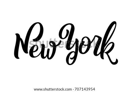 Handwritten city name. Hand-lettering calligraphy. New York. Handmade vector Lettering.