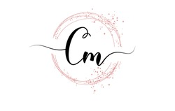 Handwritten Cm C m letter logo with sparkling circles with pink glitter. Decorative vector illustration with C si m letters.