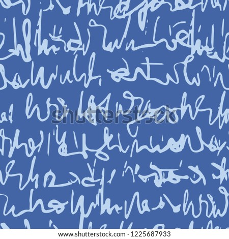 Handwritten Cursive Script Seamless Vector Pattern, Unreadable Handwriting Texture for Trendy Stationery, Packaging, Invitations, Kids Fashion Prints, Textiles, Wallpaper Backdrops. Retro Blue White