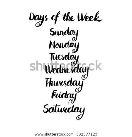 Handwritten Days Of The Week: Monday, Tuesday, Wednesday ...
