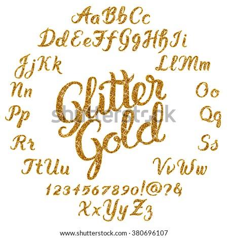 handwritten glitter gold