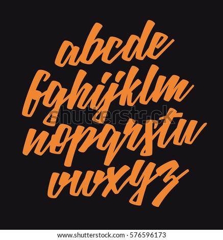 Handwritten lettering font. Vector alphabet.