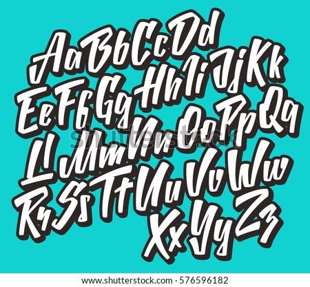 Handwritten lettering font. Vector comic alphabet.