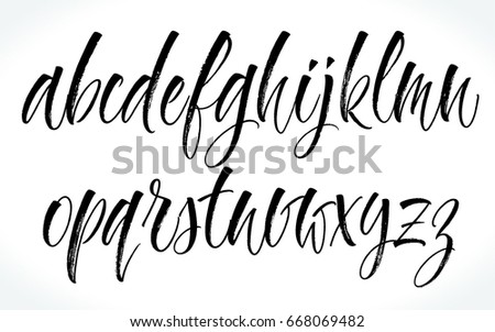 Handwritten lettering vector alphabet. Dry brush texture. Modern calligraphy for your design such logo, invitations, T-shirts, home decor, greeting cards, prints and posters or photography overlay.
