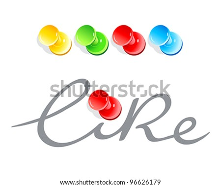 "Handwritten ""like"" with colorful push pins"