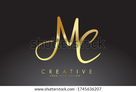 Handwritten MC M C Letters Logo. MC M C Sign with Golden Wire Effect. Creative Vector Illustration with letters M and C.  Stock fotó ©