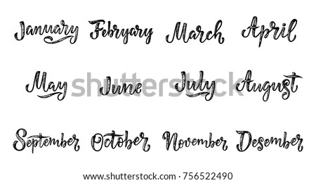 Handwritten names of months: December, January, February, March, April, May, June, July, August September October November Calligraphy words for calendars and organizers Vector