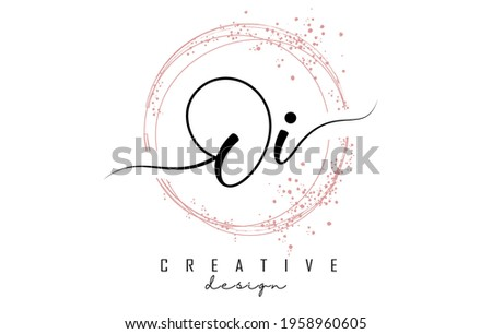 Handwritten Oi O i letter logo with sparkling circles with pink glitter. Decorative vector illustration with O and i letters. Foto stock ©
