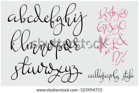 Handwritten pointed pen flourish font. Letters, figures, symbols. Made with ink. Modern calligraphy alphabet. Isolated letters. Wedding, menu, save the date postcard poster decorative graphic design.