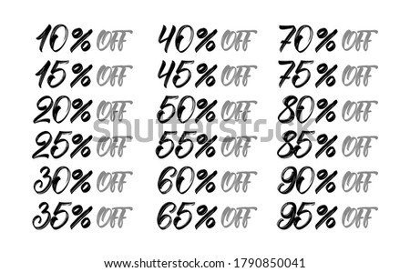 Handwritten Sale and discount tags. Up to 10, 15, 20, 25, 30, 35, 40, 45, 50, 55, 60, 65, 70, 75, 80, 85, 90, 95 % percent off. Special offer.