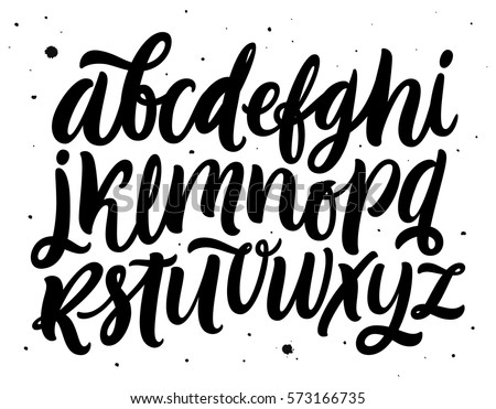 Handwritten script alphabet isolated on white background. Handmade font for your designs: logo, posters, invitations, cards, etc.