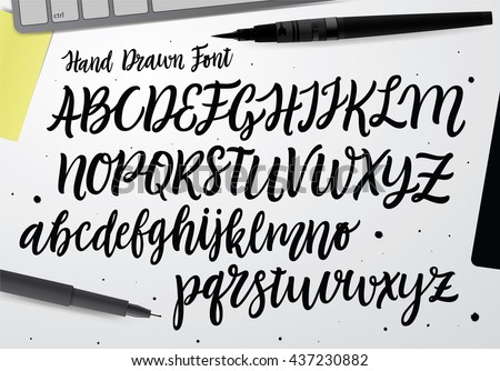 Handwritten Script font. Hand drawn brush style modern calligraphy cursive typeface. Hand Lettering and Custom Typography alphabet for Designs: Logo, Greeting Cards, Poster.  Vector Brush type set.