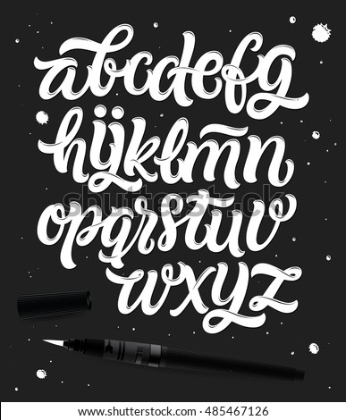 Handwritten Script font. Hand drawn brush style modern calligraphy cursive typeface. Hand Lettering and Custom Typography alphabet for Designs: Logo, Greeting Cards, Poster. Vector typo set.