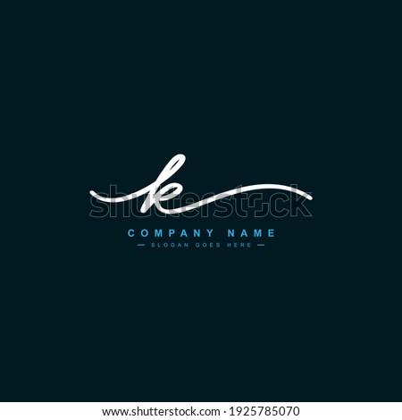 Handwritten Signature Logo for Initial Letter K Stok fotoğraf ©