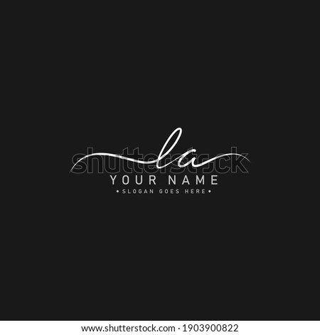 Handwritten Signature Logo for Initial Letter LA Stock fotó ©