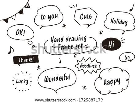 Handwritten style speech bubble icon set
