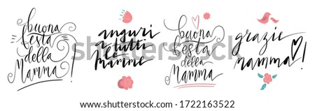 Handwritten vector lettering set for Buona Festa Della Mamma in Italian language. Small birds and flowers. Translation: Happy Mother's day, Best Wishes To All Mothers, Thank you Mother Stockfoto ©
