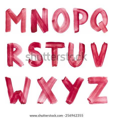 Handwritten watercolor alphabet Vector Make-up colors