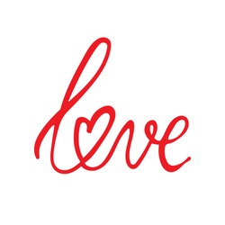 Handwritten word love and hearts on white background