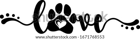 Handwritten word Love with paw print and heart inside. Design for pet lovers. Zdjęcia stock ©