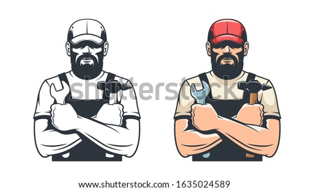 Handy man with hammer and wrench. Repairman mechanic. Retro isolated vector illustration. Stock photo ©
