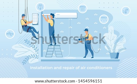 Handy Men Doing Installation and Repair Air Conditioner at Home, Husband for an Hour, Repair Service Fixing Broken Technics. Group of Electrician Call Masters at Work. Cartoon Flat Vector Illustration