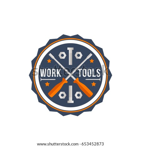 Handy service or home repair icon of work tools. Vector isolated symbol for house renovation and construction company of crossed screwdrivers or handyman toolbox of bolts and screw nuts