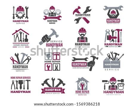 Handyman badges. Builders and workers contractor symbols technicians vector logotypes for handyman Stock photo ©