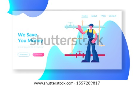 Handyman Fixing Broken Technics and Sanitary at Home Website Landing Page. Plumber Worker Character with Wrench Tool Wearing Overalls Fix Pipes System Web Page Banner. Cartoon Flat Vector Illustration