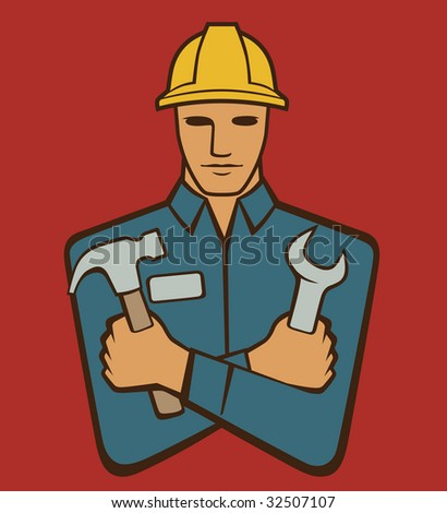 Handyman holding hammer and wrench