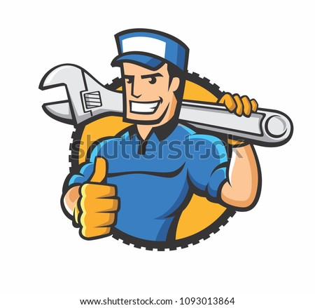 handyman holding the wrench in the form of cartoon mascot design