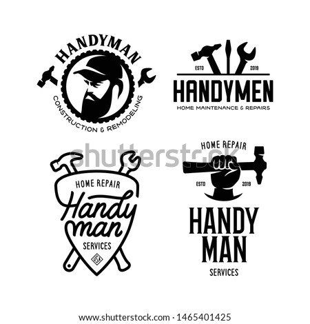 Handyman labels badges emblems and design elements. Tools silhouettes. Carpentry related vector vintage illustration. Stock photo ©