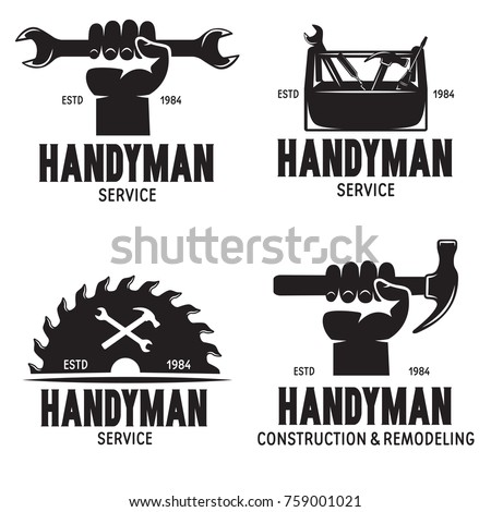 Handyman labels badges emblems and design elements. Tools silhouettes. Carpentry related vector vintage illustration. Isolated on white background.
