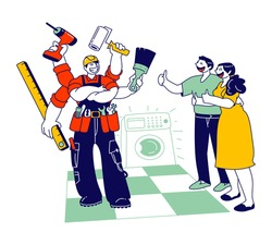 Handyman Plumber Fixing Washing Machine in Bathroom. Woman and Man Satisfied with Work Service. Worker Husband on an Hour, Master Help with Broken Technics. Cartoon Flat Vector Illustration, Line Art